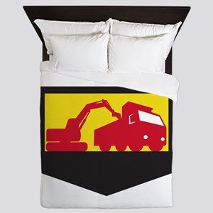 Mechanical Digger Loading Dump Truck Shield Retro