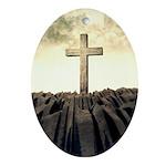 Christian Cross On Mountain Oval Ornament