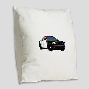 Police Car Burlap Throw Pillow