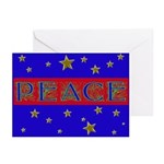 PEACE with stars Greeting Cards (Pk of 10)