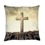 Christian Cross On Mountain Everyday Pillow