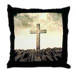 Christian Cross On Mountain Throw Pillow