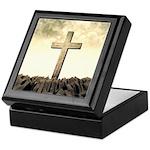 Christian Cross On Mountain Keepsake Box