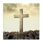 Christian Cross On Mountain Tile Coaster