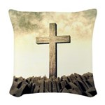 Christian Cross On Mountain Woven Throw Pillow
