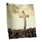 Christian Cross On Mountain Burlap Throw Pillow