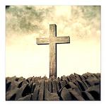 Christian Cross On Mountain Square Car Magnet 3