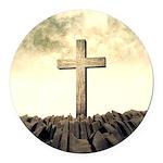 Christian Cross On Mountain Round Car Magnet