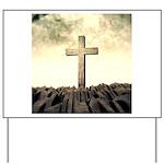 Christian Cross On Mountain Yard Sign