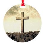 Christian Cross On Mountain Ornament