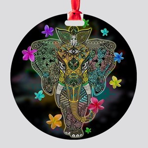 Elephant Zentangle Doodle Art Round Ornament