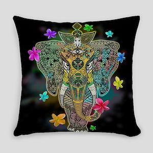 Elephant Zentangle Doodle Art Everyday Pillow