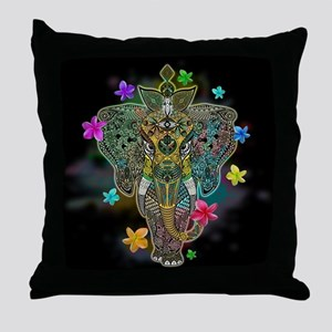 Elephant Zentangle Doodle Art Throw Pillow