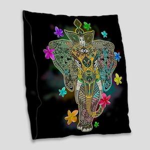 Elephant Zentangle Doodle Art Burlap Throw Pillow