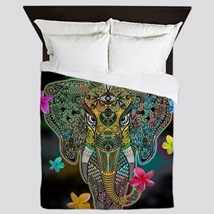 Elephant Zentangle Doodle Art Queen Duvet