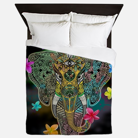 Elephant Zentangle Doodle Art Queen Duvet