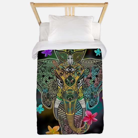 Elephant Zentangle Doodle Art Twin Duvet