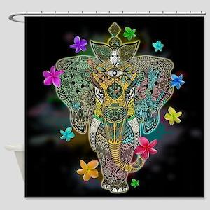 Elephant Zentangle Doodle Art Shower Curtain