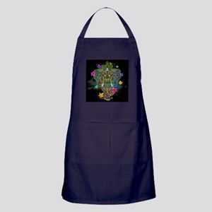Elephant Zentangle Doodle Art Apron (dark)