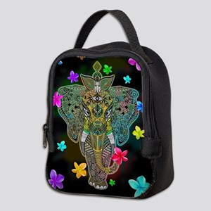 Elephant Zentangle Doodle Art Neoprene Lunch Bag