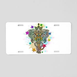 Elephant Zentangle Doodle Art Aluminum License Pla