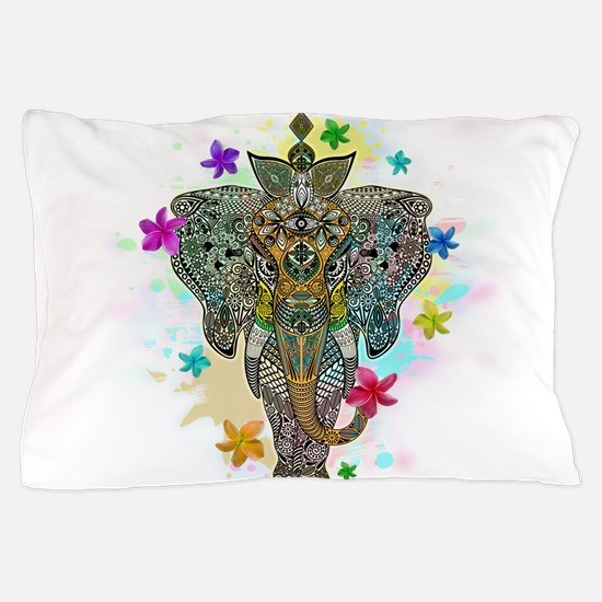 Elephant Zentangle Doodle Art Pillow Case
