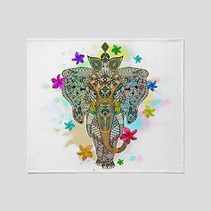 Elephant Zentangle Doodle Art Throw Blanket