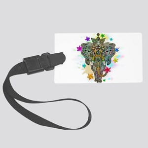Elephant Zentangle Doodle Art Large Luggage Tag