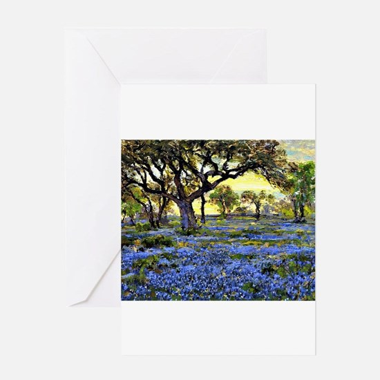 Old Live Oak Tree and Bluebonnets Greeting Cards