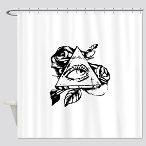 triangle all seeing eye Shower Curtain