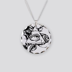 triangle all seeing eye Necklace Circle Charm