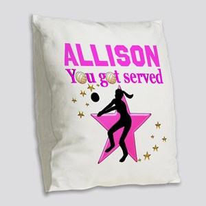CUSTOM VOLLEYBALL Burlap Throw Pillow