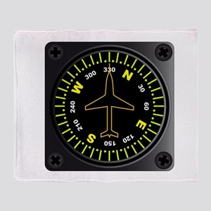 Aircraft Compass Throw Blanket