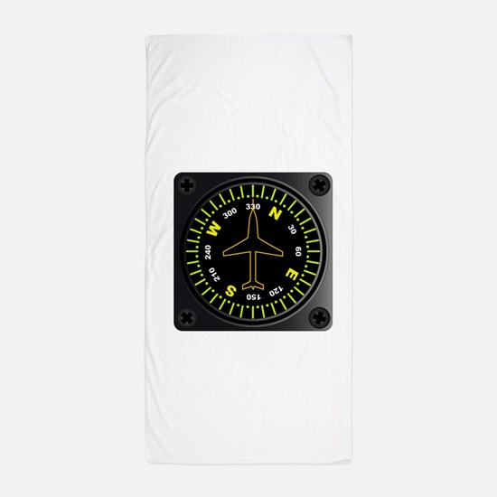 Aircraft Compass Beach Towel