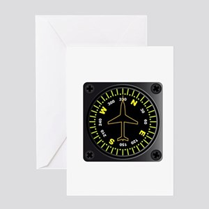 Aircraft Compass Greeting Cards