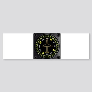 Aircraft Compass Bumper Sticker