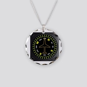 Aircraft Compass Necklace Circle Charm