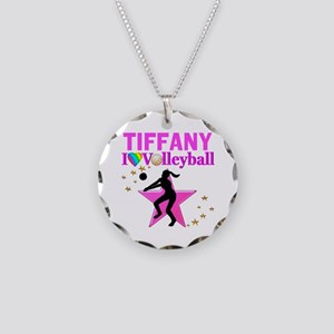 CUSTOM VOLLEYBALL Necklace Circle Charm