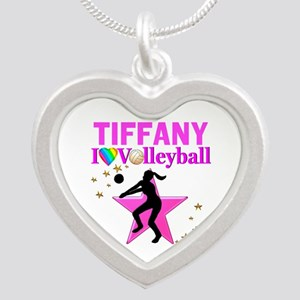 CUSTOM VOLLEYBALL Silver Heart Necklace