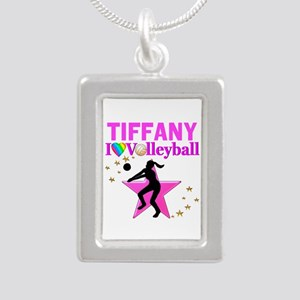 CUSTOM VOLLEYBALL Silver Portrait Necklace