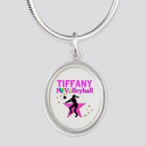 CUSTOM VOLLEYBALL Silver Oval Necklace