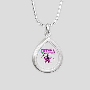 CUSTOM VOLLEYBALL Silver Teardrop Necklace