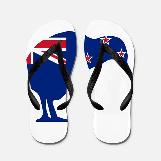 New Zealand Flag With Kiwi SIlhouette Flip Flops