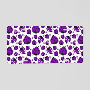 Purple Ladybugs Aluminum License Plate