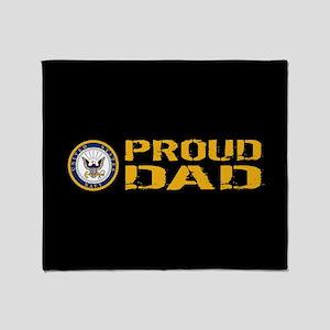 U.S. Navy: Proud Dad (Black) Throw Blanket