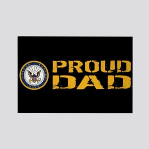 U.S. Navy: Proud Dad (Black) Rectangle Magnet