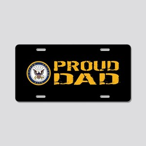 U.S. Navy: Proud Dad (Black Aluminum License Plate