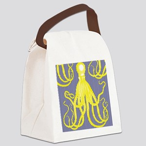 Antique Octopus - Yellow on Navy Canvas Lunch Bag