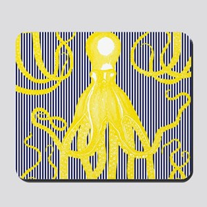 Antique Octopus - Yellow on Navy and Whi Mousepad