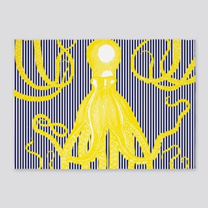 Antique Octopus - Yellow on Navy an 5'x7'Area Rug